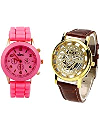COSMIC COMBO WATCH- LIGHT PINK STRAP ANALOG WATCH FOR WOMEN AND BROWN ANALOG SKELETON WATCH FOR MEN
