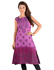 NAzAqAt Lucknow Chikan Self Woven Cotton Sleeveless Kurti Base Colour Double Shaded Purple With Contrast Grey...
