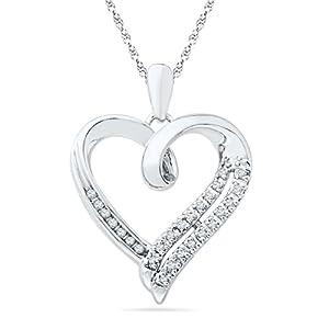 Sterling Silver White Round Diamond Heart Pendant (1/10 Cttw)