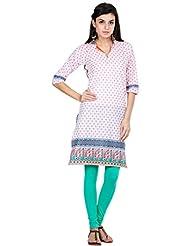 Zovi Women's Cotton Printed White And Green Three-fourth Sleeves Collared Kurti (10591309501)