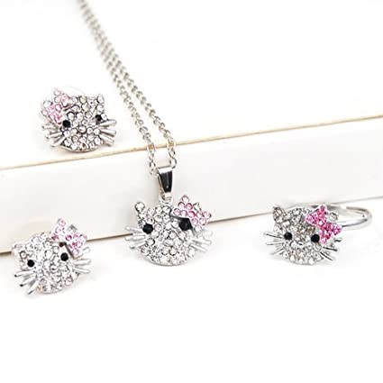 Hello Kitty Necklace, Earrings, Bracelet Set