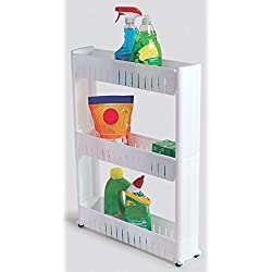 Slim Storage Cabinet Organizer Rolling Pull Out Cart Rack Tower with Wheels - 3 Shelf - Shelving Ideas Solutions for Narrow Spaces in Laundry Kitchen Bathroom Apartments Closets by Perfect Life Ideas