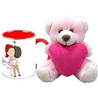 Valentine Gift HomeSoGood Love The Way You Are White Ceramic Coffee Mug With Teddy - 325 Ml