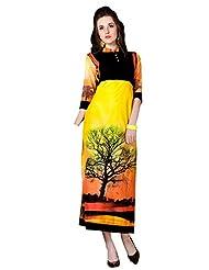Shonaya Yellow & Black Color Printed Cotton Stitch Kurti