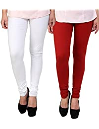 BrandTrendz White And Red Cotton Pack Of 2 Leggings