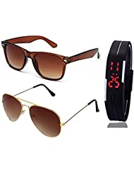 BROWN WAYFARER SUNGLASSES AND GOLDEN BROWN AVIATOR SUNGLASSES WITH TPU BAND RED LED DIGITAL BLACK DIAL UNISEX...