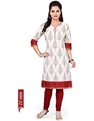 Desi Aura NX The Contemporary Affair White Cotton Tunic With Block Print (Pack Of 1)