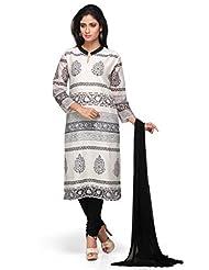 Off White Printed 3/4 Sleeves Churidar Kameez