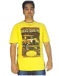 Xmex Trendy Round Neck Sinker Yellow Cotton Tshirt For Men - B00TQTJV3S