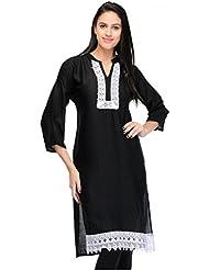 Yogalz Women Black Color Poly Rayon Casual Party Wear Kurti Girls Kurta