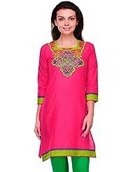 LizaFab Pink Color Cotton Fabric Women's Straight Kurti - B01LEMTFU8