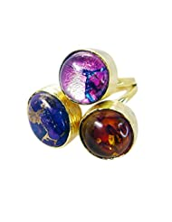 Riyo Multi-Colour Lovely Multi Turquoise 18-Kt Gold Plated Class Ring Women 10 Gprmul5-52001