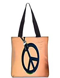 Snoogg Peace And Love Digitally Printed Utility Tote Bag Handbag Made Of Poly Canvas