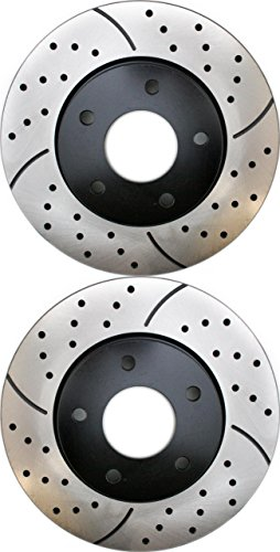Prime Choice Auto Parts PR6401LR Performance Drilled and Slotted Brake Rotor Pair for Front