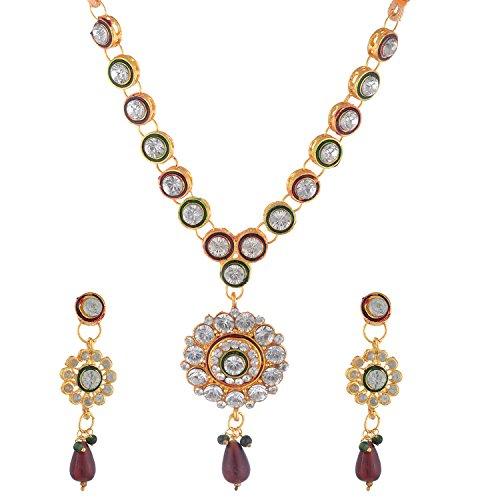 Bel-en-teno Red & Green Alloy Necklace Set For Women - B00PY9YGFM