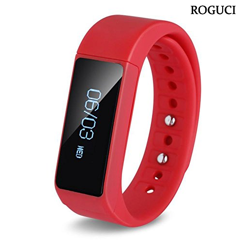 ROGUCI Smart Watch Bracelet Montres Sports Tracker Bluetooth with USB Charge for IPhone Smart Phone Rouge