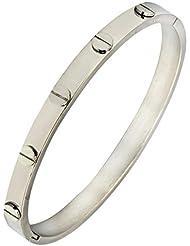 The Jewelbox Men Stainless Steel Oval Free Size Biomagnetic Kada Bangle Bracelet