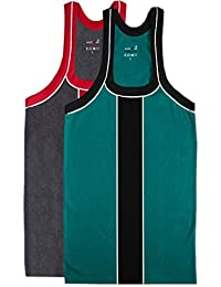 Mazicman's Designer Combed Cotton Vests For Men Pack Of 2 Assorted Colours