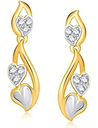 VK Jewels Double Heart Gold And Rhodium Plated Alloy Earrings For Women & Girls Made With Cubic Zirconia -ER1280G...