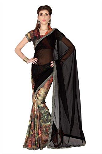 df9eaaffdc055d Designersareez Women Black & Multi Color Faux Georgette & Crep Digital  Print Saree With Unstitched Blouse