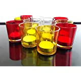 TiedRibbons® Diwali Gift T-light Candles Holder Pack Of 10(Multicolor, Glass) With 10 Tealight Candles