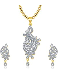 Sukkhi Graceful Gold And Rhodium Plated CZ Pendant Set For Women