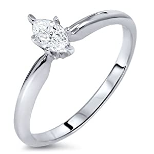 Mesmerizing Marquise Cheap Solitaire Engagement Ring Half Carat Marquise Cut Diamond on Gold