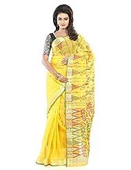 B3Fashion Traditional Yellow Pure Dhakai Handloom Cotton Jamdani Saree With Red & Green Floral Design With Designer...