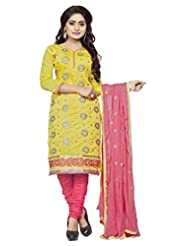Divya Emporio Unstitched Cotton Silk Salwar Suit Dupatta(DE-015_Yellow)