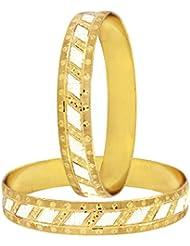 The Jewelbox Wedding Designer 22k Gold Plated Rhodium Metal Chuda Kada Bangle Set Of 2 For Women - B01IQY156O