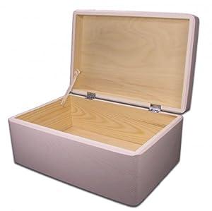 Aufbewahrungsbox/ Holzkiste mit Deckel Holz, Kiefer weiss