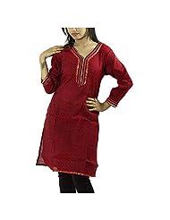 Fashion Freaks Red Cotton Printed V-neck Kurti - B00R7O6EPC