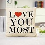 Alcoa Prime 45*45cm Cushion Cover LOVE Heart Couple Linen Throw Cotton Pillow Case # 3