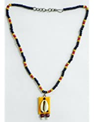 Red, Yellow And Black Wooden Bead Necklace With Cowrie Pendant - Wood And Metal
