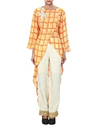 Orange Straight Suit Featuring With Embroidered Butti