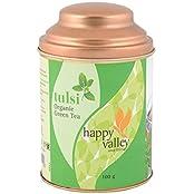Happy Valley Tulsi Organic Green Tea, 100 Grams