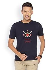 Campus Sutra Navy Blue Round Neck Tshirt Cricket Lovers