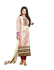 Surat Tex Cream Color Embroidered Georgette Semi-Stitched Salwar Suit