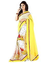 SRP Fashion Selection Women's Chiffon Saree (SRP104-25, White And Yellow)
