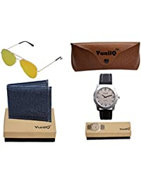 Combo Pack Of Blue Denim Shade Wallet With YuniiQ Golden Reflectors With YuniiQ Stylish Watch