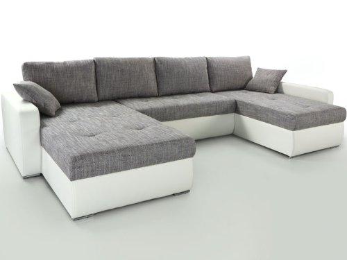 Wohnlandschaft Esther grau weiss 335x201x180cm, Bettfunktion Sofa Couch Polsterecke
