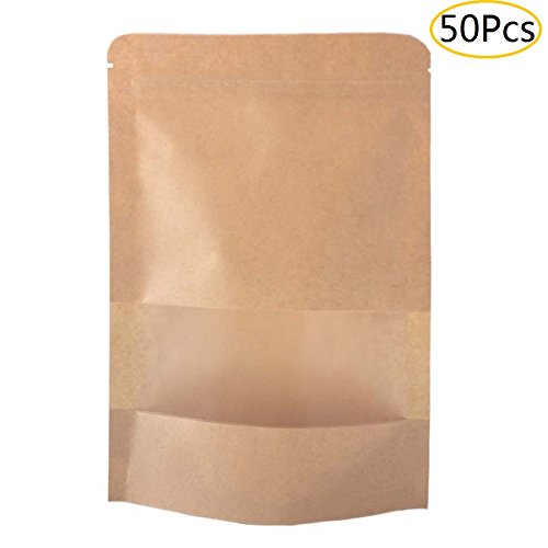SumDirect 50Pcs Kraft Zip Lock Stand Up Bags Pouches with Notch and Matte Window