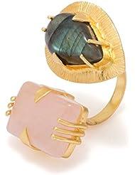 Voylla Golden Statement Ring Decked With Black-Pink Stones