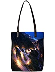 Snoogg Zig Zag Roads Womens Digitally Printed Utility Tote Bag Handbag Made Of Poly Canvas With Leather Handle