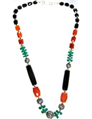 Exotic India Faceted Gemstone Beaded Necklace (Black Onyx, Carnelian And Green Onyx) - Sterling Silv