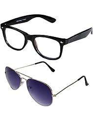 Sheomy Unisex Combo Pack Of Transparent Wayfarer Sunglasses And Silver Dark Blue Aviator Sunglasses For Men And...