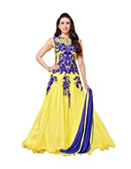 Dancing Girl Yellow Semi Stitched Wedding Party Wear Embroidered Anarkali Suit With Chiffon Dupatta