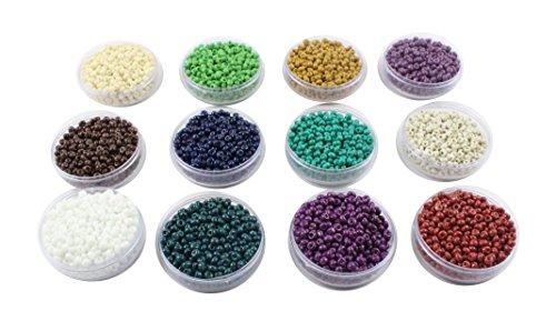 Eshoppee Seed Beads For Jewelery Making Set Of 12 Colours , 20Gm X 12 Box