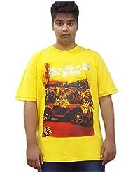 Xmex Trendy Round Neck Sinker Yellow Cotton Tshirt For Men - B00TQTKBVE