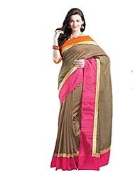 Brown Tussar Saree In Rani Pink & Orange Shimmer & Tussar Saree Border-SR6689